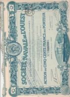 - ACTION ILLUSTREE DE CINQ CENT FRANCS -  SOCIETE NOUVELLE NAVALE DE L´OUEST ANNEE 1920 - Navigation