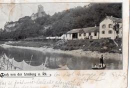 SASBACH AM KAISERSTUHL  -  GRUSS VON LIMBURG A. Rh.  -  Ruine Limburg, Rheinpartie Mit Gasthaus  -  Juillet 1906 - Sasbach