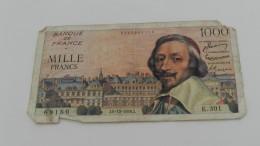 1000 Francs Du 6 - 12  -1956   Dans L état   Manque Un Morceau - 1871-1952 Gedurende De XXste In Omloop