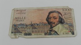 1000 Francs Du 6 - 12  -1956   Dans L état   Manque Un Morceau - 1871-1952 Antichi Franchi Circolanti Nel XX Secolo