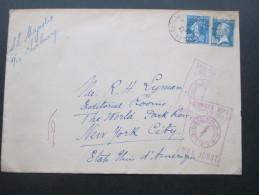 Frankreich 1926 Schiffspost Nach New York An R.H. Lyman Editor The World. SS Majestic. Cashier´s Dept. Max Jobst - France
