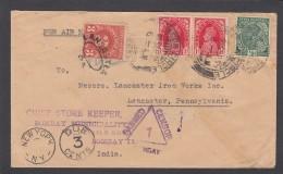 LETTRE DE LA MUNICIPALITE DE BOMBAY POUR LANCASTER (U.S.A.),TAXEE A 3 CENTS,GRIFFE DE CENSURE. - India (...-1947)