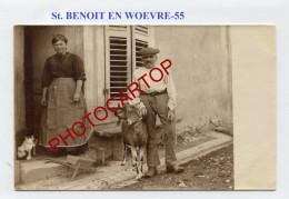 SAINT BENOIT EN WOEVRE-Civils-Vieillards-Chevre-Chat-TYPES-CARTE PHOTO Allemande-Guerre 14-18-1 WK-FRANCE-55- - France