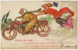 Moto Motocyclisme Code De La Route Signée Mauzan La Femme Doit Suivre Son Mari Et Perd Ses Jupons - Motos