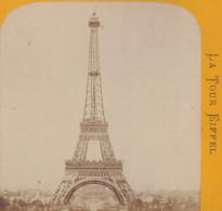 Photo Stereo LA TOUR EIFFEL - PARIS EXPOSITION UNIVERSELLE 1889 / Vue Stéréoscopique Sur Carton - Fotos Estereoscópicas