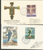 SAN9---  SAN MARINO   STORIA POSTALE,    FDC.  ANNO  1966--67,  PEZZI, 2, - FDC