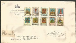 SAN12---  SAN MARINO   STORIA POSTALE,    FDC, RACCOMANDATA,   1968, - FDC