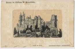 Carte Tissée En Soie Ruines Chateau De Pierrefonds Oise  Silk Woven Card - Cartes Postales