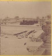 Photo Stereo 1860-1870 PARIS : LE PALAIS DU LOUVRE (travaux Attelages) / Photo Stéréoscopique Sur Carton - Photos Stéréoscopiques