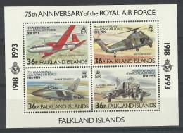 FALKLAND IS. 1993 75th ANNIV. OF RAF SHEET MNH - Vliegtuigen