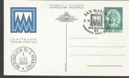 SAN21---  SAN MARINO   STORIA POSTALE,    FDC,  INTERO POSTALE FDC, CON DUE DATE DIVERSE,   1982, - FDC