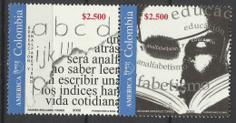 COLOMBIA 2002 UPAEP EDUCATION & LITERACY CAMPAIGN PAIR MNH - Colombia