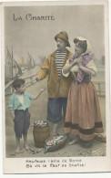 Monnaie Mendiant La Charité Pecheur Donnant Une Pièce De Monnaie à Un Petit Mendiant Coin For Beggar Kid - Monnaies (représentations)
