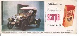 Buvard Café Pur Scarpia. Vieux Tacots. Renault 1905 Caroline. - Café & Thé