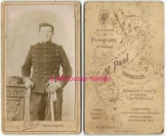 En 1907-CDV Soldat Du 11e Régiment-photographie N. Paul à Versailles - Guerre, Militaire