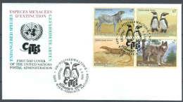 UN FDC - WE 1993 02BL4 - Gefährdete Arten (I) - Endangered Species - Espèces Menacées D'Extinction - FDC