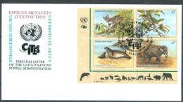 UN FDC - WE 1994 02BL4T - Gefährdete Arten (II) - Endangered Species - Espèces Menacées D'Extinction - FDC