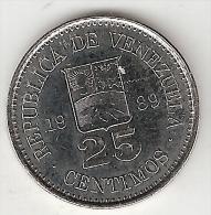 *Venezuela 25 Centimos 1989  Km 50a   Unc - Venezuela