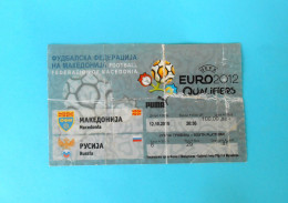 MACEDONIIA : RUSSIA - 2010. UEFA EURO 2012. Qualif. Football Match Ticket Soccer Billet Foot Calcio Biglietto Fussball - Match Tickets