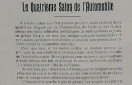1901 LE QUATRIEME SALON AUTOMOBILE DARRACQ DE DION BOUTON DIETRICH MUTEL TERROT LEVASSOR MORS RENAULT COTTEREAU  ETC ... - Newspapers