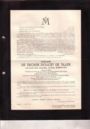 ALOST AALST Lucie BORREMAN épouse DE DECKER DOUCET De TILLIER 1899-1957 Bruxelles Enterrée ALOST Doodsbrief - Décès