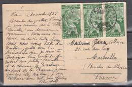 Vaticano 1935 - Striscia Di 3 Del 25 Cent. Congresso Giuridico Su Cp In Tariffa Estero 75 Cent. - Storia Postale