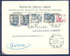 1943 , GUIPÚZCOA , SOBRE CIRCULADO ENTRE IRÚN Y LUZERNA , MAT. AMBULANTE NORTE 13 , CENSURA , TRÁNSITO - 1931-Aujourd'hui: II. République - ....Juan Carlos I