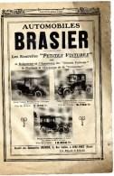 Automobiles BRASIER 2 Rue Galilée IVRY- PORT,1 Page 17x25 Cm - Advertising