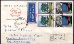 ITALY / ITALIA 1967 - Registered Air First Day Cover Of Luigi Pirandello From Milano To Buenos Aires, Argentina - 6. 1946-.. Repubblica