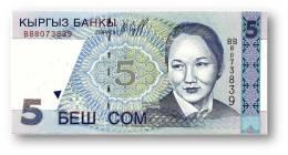 KYRGYZSTAN - 5 Som - 1997 - P 13 - UNC. - Série BB - B. Beishenaliyeva - 2 Scans - Kirghizistan