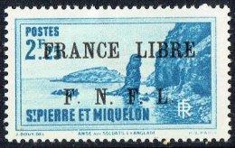 Langlade  2,25fr  Surchargé «France Libre/ F.N.F.L.»  Yv 269  * MH - St.Pedro Y Miquelon