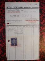 Facture Wittal Frères 5/01/1938 Avec Timbre - Tsjechoslowakije