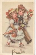 CPA Bonne Fête - Fantaisie - BONNE FETE - Jeune Couple D'enfants Amag 244 - Feiern & Feste