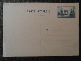 ENTIER POSTAL NEUF Type Semeuse ARC De TRIOMPHE à 80c Bleu Foncé Format Carte Postale - Entiers Postaux