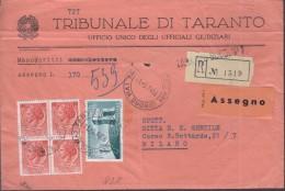 TARANTO 1958 - RACCOMANDATA CONTRASSEGNO - AMICIZIA ITALIA BRASILE + QUARTINA SIRACUSANA LIRE 10 - SX364 - 1946-60: Marcophilia