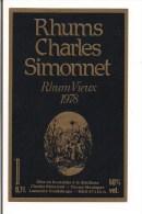 Etiquette   RHUM  Vieux 1978 -  Rhums  Charles Simonnet - 50%  0,7L - Grosse Montagne, Lamentin  -  GUADELOUPE  - - Rhum