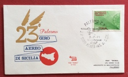 GIRO AEREO DI SICILIA 1971  AEROGRAMMA  CATANIA PALERMO - Aerei
