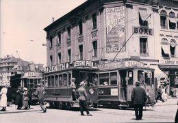 Chemin De Fer, Lausanne, Trams, Publicité Phén, Zenith Et Chocolat Milka, Photo 1915 Retirage BVA TL 16 C - VD Vaud