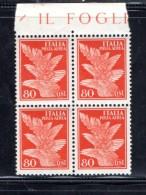 1930-32 - POSTA AEREA 80 CENT IN QUARTINA SOGGETTI ALLEGORICI - NUOVO MNH**F713 - 1900-44 Victor Emmanuel III.