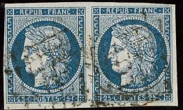 No 4, Paire Horizontale Obl Grille. - TB - 1849-1850 Ceres