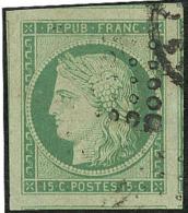 No 2b, Vert-jaune, 7 Voisins, Superbe. - R - 1849-1850 Ceres
