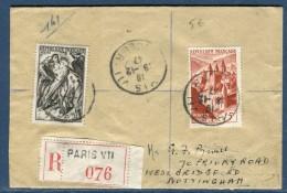 France - Enveloppe En Recommandée De Paris Pour Nottingham En 1947     Voir 2 Scans - Réf. S 75 - Marcophilie (Lettres)