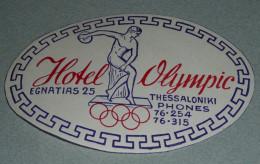 Rare Ancienne étiquette D'Hotel, Hotel Olympic, Thessalonique Thessaloniki Grece Greece, Discobole, Anneaux Olympiques - Other