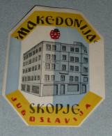 Rare Ancienne étiquette D'Hotel, Makedonija, Skopje, Macedoine, Ex-Yougoslavie, Jugoslavija - Hotel Labels