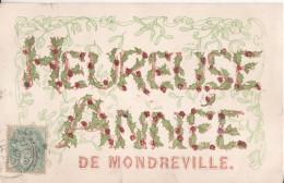 78   Mondreville Heureuse Annee Fantaisie Avec Paillette En Relief - France