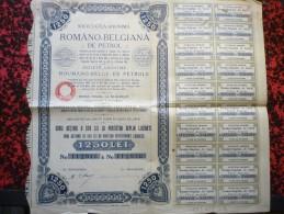 Romano-Belgiana De Petrol Action De 1250 Lei - Acciones & Títulos