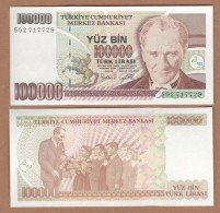 AC - TURKEY- 7TH EMISSION 100 000 TL F 68 8888 86 UNCIRCULATED - Turkije