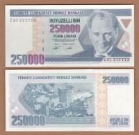 AC - TURKEY- 7TH EMISSION 250 000 TL E 37 7777 73 UNCIRCULATED - Turquie