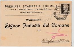 Italy - Agrigento - Premiata Stamperia Formica - Francesco Capraro - Publicité