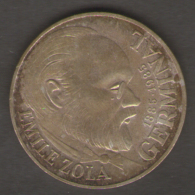 FRANCIA 100 FRANCS 1985 EMILE ZOLA GERMINAL AG SILVER - Commemorative